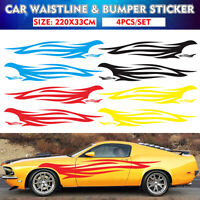 Car Flame Long Stripe Vinyl Decal Graphics Body Side Wrap Sticker Racing Stripes