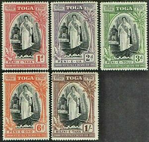 TONGA 1944 SG83-87 SILVER JUBILEE OF QUEEN SALOTE'S ACCESSION  -  MNH