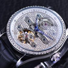 Men Watch Tourbillion Automatic Luxury Casual Genuine Leather Diamond Blue Hands