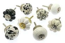 8 X Misto Serie di Shabby Chic Ceramica Armadio Manopole Armadietto MANIGLIE