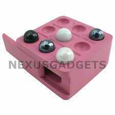 Tic Tac Toe Wood Wooden Board Game Box Set Marbles Travel Mini TicTacToe PINK fs
