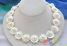 """p3273 PERFECT AAA++ 18"""" 22mm WHITE ROUND SOUTH SEA MABE PEARL NECKLACE"""
