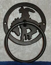 """BRONCO HORSE COWBOY TOWEL RING Rustic Cast Iron Towel Ring 7"""" Tall x 4.5"""" Wide"""