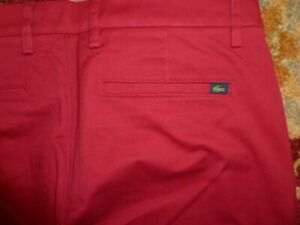 Lacoste Men's Slim Fit Bordaeux Red Cotton Casual Chino Pants W34 L32 New 89$