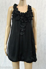 **VALLEY GIRL** Floral Black Dress S Flowers Ribbon Halter 8 10 Stretch Elastic