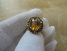 LeVian 14k Yellow Gold Citrine Diamond Chocolate Diamond Ring w Papers. 3 Carat!