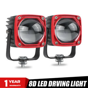 2X Square LED Work Light Yellow White Dual Color Fog Pod Driving Offroad SUV 4WD