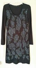Yest Stretchy Knit Bodycon Dress Black w/Olive & Blue Lacy Print Design SZ XS