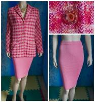 ST. JOHN Collection Knits Pink Orange Jacket New Skirt L 12 14 2pc Suit Buttons