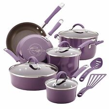 Rachael Ray Cucina Hard Enamel Nonstick Cookware Set Lavender Purple 12pc NEW