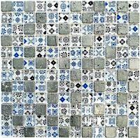 Glasmosaik silber/schwarz/blau Struktur Küche WC Wand Bad Art:WB83-CB07|1 Matte