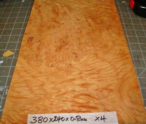 REAL WOOD VENEER 4 X SOFT MAPLE BURL SHEETS CRAFT,FURNITURE,RESTORATIONS,BOXES