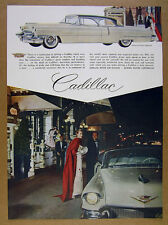 1956 Cadillac Sedan DeVille white car art vintage print Ad