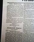 President MARTIN VAN BUREN State of the Union Address 1839 BROADSHEET Newspaper