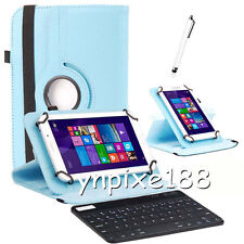 360° Rotating Universal Leather Case Cover With Keyboard For 7'' 7 Inch Tablet