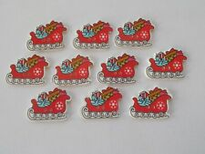 10 CHRISTMAS SANTA SLEDGE Shaped Wooden Buttons Scrap book Crafts Sewing