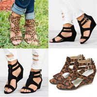 Women Wedge Mid Heels Buckle Sandals Ladies Summer Casual Work Shoes Size 4-10.5