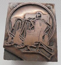 Vintage Printing Letterpress Printers Block Tired Man Sitting Slouched In Chair