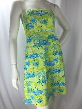Lilly Pulitzer Tropical Monkey Lime Green & Turquoise Blue Strapless Sun Dress 6