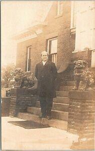 RPPC William Jennings Bryan on Stairway w/ Lion Statuettes Lincoln Nebraska 1908