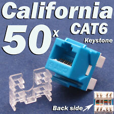 50 X Pcs lot Keystone Jack CAT6 Blue Network Ethernet 110 Punch Down 8P8C RJ45