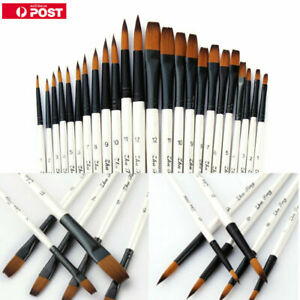12Pcs Various Size Artist Brushes Round Flat Filbert Watercolor Acrylic Painting