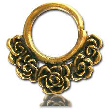 Septum 9Mm Ring Diameter Nose Piercing Ornate Roses 16G 1.2mm Brass Hanging