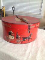 Vintage Dobbs Fifth  Avenue Red  Hat Box New York