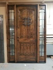 RUSTIC KNOTTY ALDER ENTRY DOOR WITH TWO FULL LITE SIDELITES / SEEDED GLASS