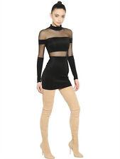BALMAIN MOCK-NECK SHEER-STRIPED MINI DRESS UK 8/10