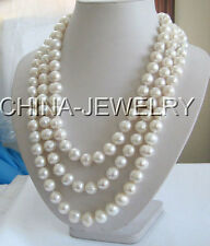 "P996- 70"" Long 12-14mm natural white round freshwater pearl necklace -925 silver"