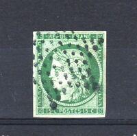 """FRANCE STAMP YVERT  SCOTT # 2 """" CERES 15c GREEN 1850 """" USED VVF SIGNED  V137"""