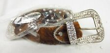 Atlas Wholesale Rhinestone Belt Cowgirl Bling Belt Hair on Hide Genuine Leather
