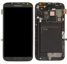 +Frame Gray Lcd Screen Touch Digitizer Home flex for Samsung Galaxy Note 2 N7105