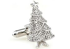 Christmas Tree Pair Cufflinks Noel Wedding in Fancy Gift Box & Polishing Cloth