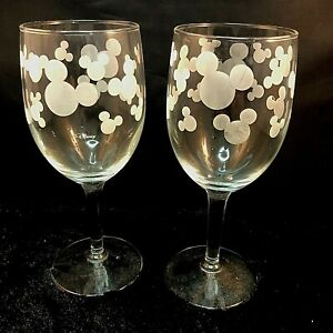 Disney Wine Glasses Frosted Mickey Mouse Silhouette Heads Design Pair (2)