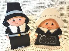 Pilgrim Man & Woman Hand Painted Folk Art Wood Characters ~Thanksgiving Decor