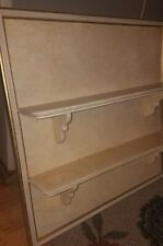 FANCY Vintage Wooden 2-TIER Large Wall Shelf~GOLD/CREAM Shabby Chic!