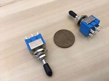 2 x Black Sleeve cap boot cap Blue On Off On Momentary Mini Toggle Switch 1/4 C8