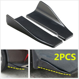 2Pcs Carbon Fiber Look Car Bumper Spoiler Rear Splitter Diffuser Lip Universal
