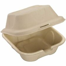 Biodegradable 6x6 Take Out Food Containers with Clamshell Hinged Lid 50 Pack...
