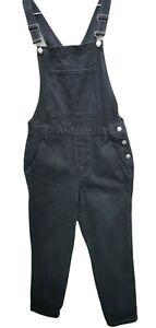 Topshop Moto Denim Dungarees Overalls women size 10 black wash ankle length