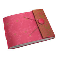 Fair Trade Handmade Small Pink Sari Photo Album Scrapbook 2nd Quality