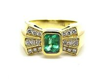 1.50ct. Emerald & Diamonds 1.10ct. Yellow Gold 18Carat Bow Ring UK Size O