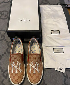 NEW 100% AUTHENTIC GUCCI GG NY YANKEES SLIP ON SNEAKERS SIZE G 8.5 US 9.5