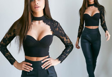 Sexy Ladies Top Lace Long Sleeve Halter Party Crop Top Zip Back With Pad