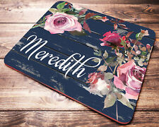 Floral Personalized Name Mouse Pad Watercolor Roses Desk Accessories for Women