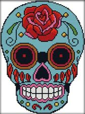 Skull. Rose Floral. 14CT Counted Cross Stitch. Craft Brand New