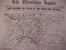 VINTAGE NEWSPAPER HEADLINE~CIVIL WAR  REBEL ARMY RETREAT UNION MARYLAND VICTORY
