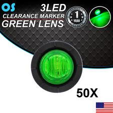 """50X Mini Round Side Marker 3/4"""" 3 LED Bullet Green Light 12V Truck Trailer US"""
